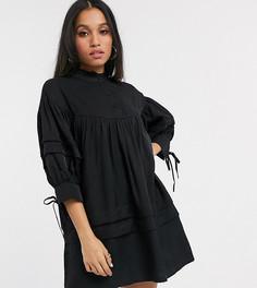 Черное свободное платье с высоким воротом Vero Moda Petite-Черный
