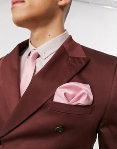 Узкий атласный галстук и платок для нагрудного кармана ASOS DESIGN-Розовый
