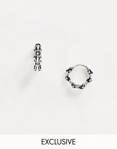 Серебряные серьги-кольца Reclaimed Vintage inspired эксклюзивно для ASOS-Серебряный