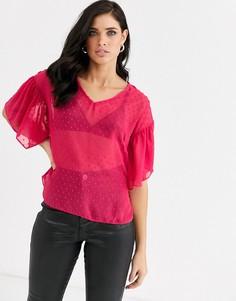 Блузка с оборками и V-образным вырезом Closet-Розовый