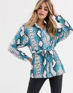 Рубашка со змеиным принтом Love-Синий