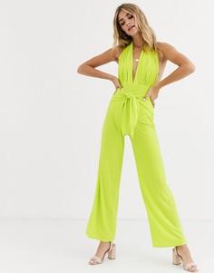 Широкие брюки с завязкой Love-Зеленый