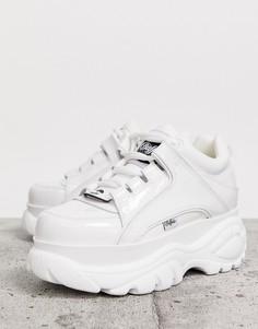 Белые классические лакированные низкие кроссовки Buffalo London-Белый