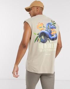 Длинная oversize-майка из органического хлопка с принтом змеи и цветами ASOS DESIGN-Бежевый