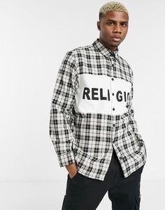 Черно-белая футболка в клетку с логотипом на вставке Religion-Черный