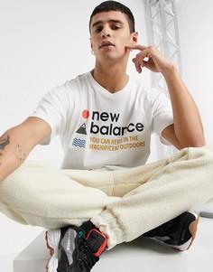 Белая футболка New Balance-Белый