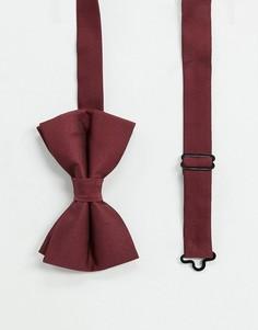 Атласный бордовый галстук-бабочка ASOS DESIGN-Красный