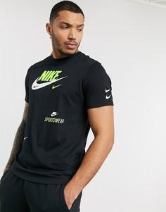Черная футболка с принтом Nike-Черный