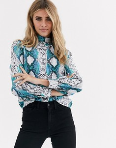 Блузка с высоким воротником Love-Синий