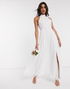 Белое свадебное платье с высоким воротником и отделкой бусинами Frock & Frill-Белый