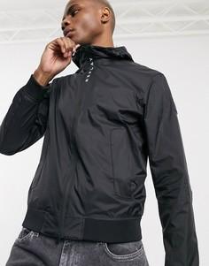 Черная легкая куртка на молнии с капюшоном и логотипом Replay-Черный