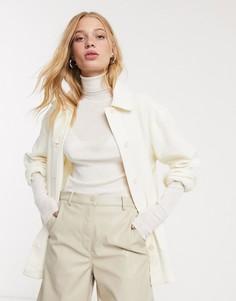 Светлая рубашка-куртка с эффектом помятости Weekday-Кремовый