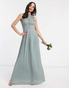Шалфейно-зеленое платье макси с кружевной спинкой TFNC-Зеленый
