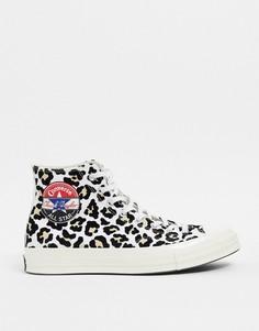 Высокие кеды с логотипом и леопардовым принтом Converse Chuck 70-Коричневый