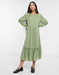 Зеленое платье макси с заниженной талией Selected Femme-Зеленый