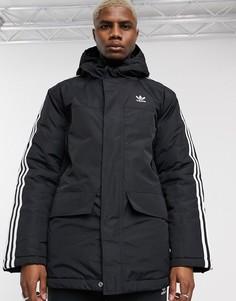 Черная парка с 3 полосками adidas Originals-Черный