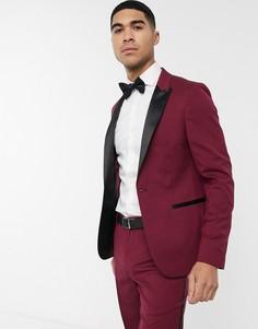 Бордовый приталенный пиджак-смокинг ASOS DESIGN-Красный