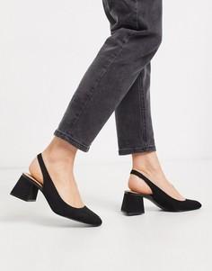 Черные туфли с открытой пяткой Stradivarius-Черный