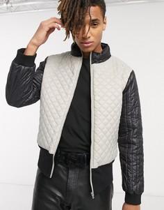 Серая стеганая куртка с высоким воротом One Above Another-Серый