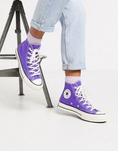 Высокие фиолетовые кеды Converse Chuck 70-Фиолетовый