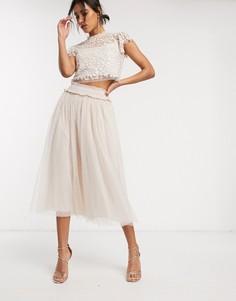 Розовая юбка мидакси из тюля Needle & Thread-Розовый