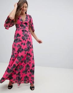 Платье макси с цветочным принтом и оборками на рукавах ASOS-Мульти