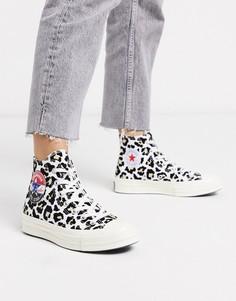 Высокие кеды с леопардовым принтом Converse Chuck 70-Мульти