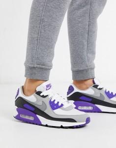 Белые кроссовки с фиолетовыми вставками Nike Air Max 90-Фиолетовый
