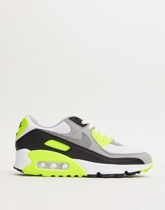 Белые кроссовки с зелеными вставками Nike Air Max 90-Зеленый