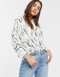 Oversize-рубашка с длинными рукавами и абстрактным принтом ASOS DESIGN-Мульти