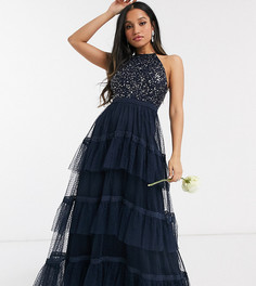 Темно-синее платье макси с пайетками Maya Petite-Темно-синий