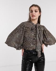 Блузка с объемными рукавами и леопардовым принтом Sister Jane-Коричневый