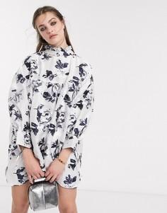 Свободное платье мини с цветочным принтом и завязками на манжетах DREAM-Белый Sister Jane