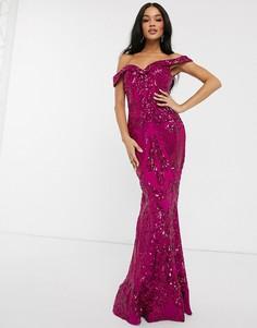 Розовое платье макси с открытыми плечами и пайетками Bariano-Розовый