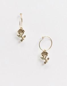 Золотистые серьги-кольца с подвеской ASOS DESIGN-Золотой