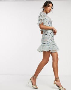 Ярусное платье мини мятного цвета с декоративной отделкой Needle & Thread-Зеленый