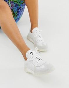 Замшевые кроссовки на массивной подошве Bronx-Белый