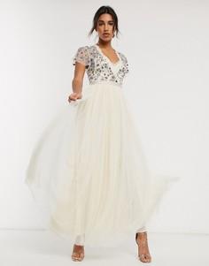 Кремовое платье макси с юбкой из тюля Needle & Thread-Кремовый