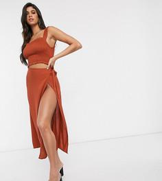Эксклюзивная пляжная юбка рыжего цвета с запахом Akasa-Красный