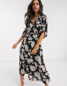 Платье миди с запахом и цветочным принтом Liquorish-Мульти