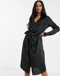 Черное атласное платье миди с завязкой NA-KD-Черный