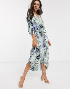 Платье макси с запахом и цветочным принтом Liquorish-Мульти