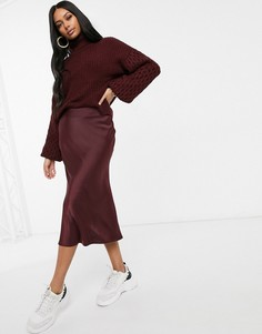 Бордовая атласная юбка миди NA-KD-Красный