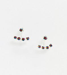 Эксклюзивные серебряные серьги-гвоздики с кластерными кристаллами Kingsley Ryan-Серебряный