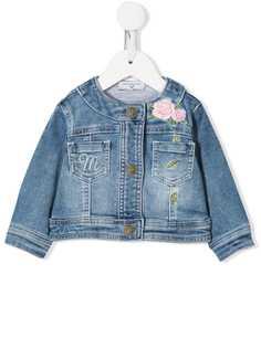 Monnalisa джинсовая куртка с цветочной вышивкой