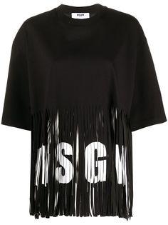 MSGM футболка оверсайз с бахромой