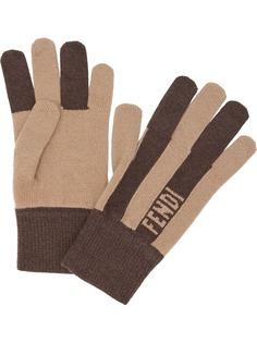 Fendi кашемировые перчатки в полоску