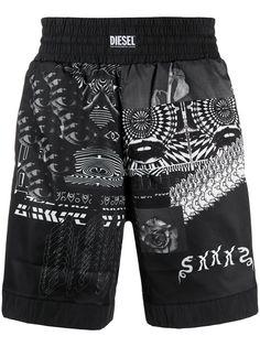Diesel плавки-шорты с абстрактным принтом