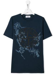 Stone Island Junior футболка с камуфляжным принтом и логотипом