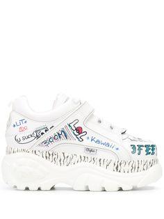 Buffalo graffiti print platform sneakers